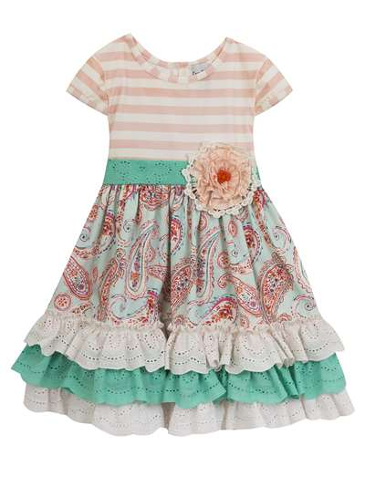 Pink Stripe To Paisley Dress With Fabric Flower, Counting Daisies, Baby Girls (12-24M)