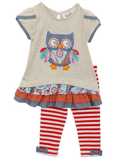 Oatmeal Owl Knit Set With Ruffle, Rare Editions, Baby Girls (12-24M)