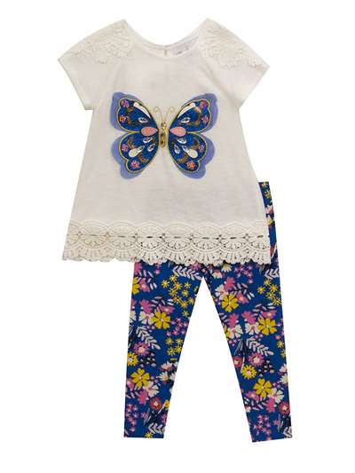 Ivory Sequins Butterfly Knit Set, Rare Editions, Baby Girls (12-24M)