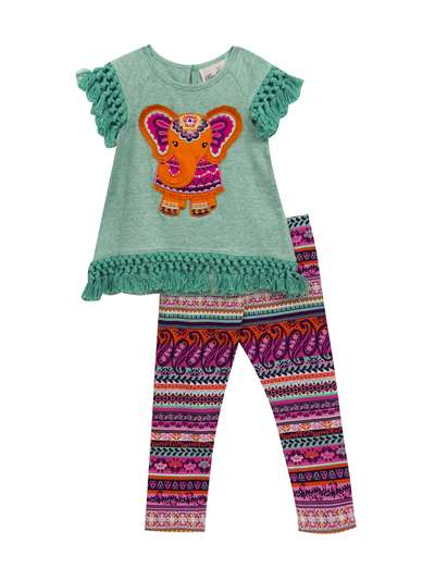 Party Elephant Legging Set With Knotted Fringe, Rare Editions, Baby Girls (12-24M)