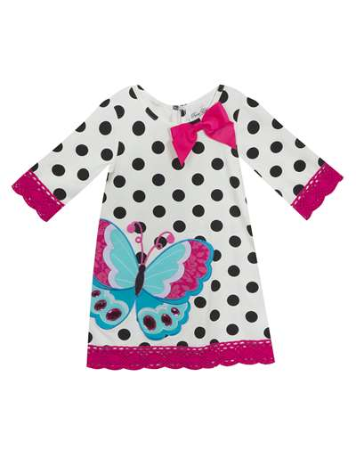 Butterfly Dot Knit Dress With Fuchsia Trim, Rare Editions, Baby Girls (12-24M)