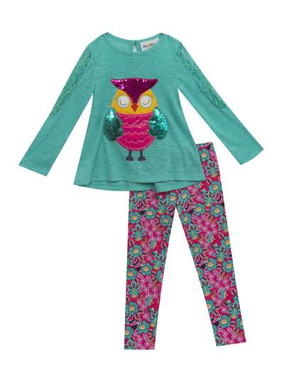 Sparkly Sequins Owl Sweater Knit Legging Set, Rare Editions, Baby Girls (12-24M)