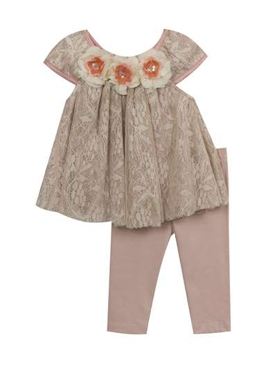 Taupe & Ivory Lace Legging Set With Flowers, Rare Editions, Baby Girls (12-24M)