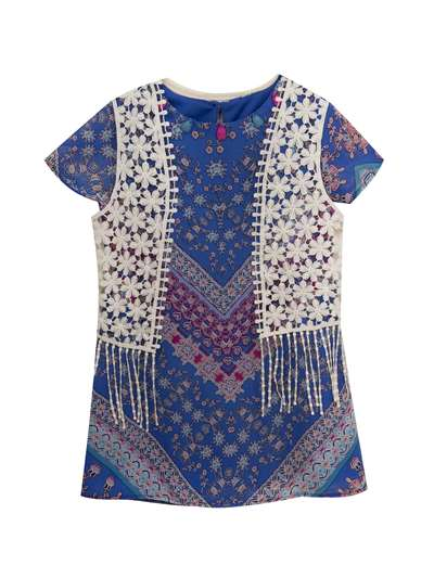 Printed Chiffon Dress With Crochet Vest, Rare Editions, Baby Girls (12-24M)