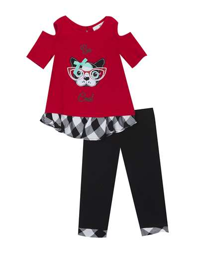 Be Cool Pup Red Sweater Knit Legging Set, Rare Editions, Baby Girls (12-24M)