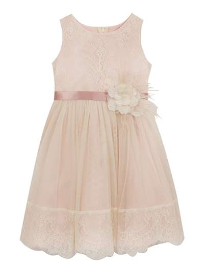 Blush Flower Girl Dress With Lace, Rare Editions, Little Girls (4-6X)