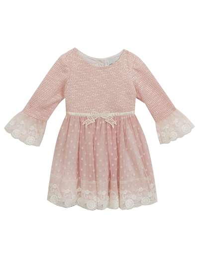 Peach Knit Sweater Knit To Mesh Dress, Rare Editions, Baby Girls (0-9M)