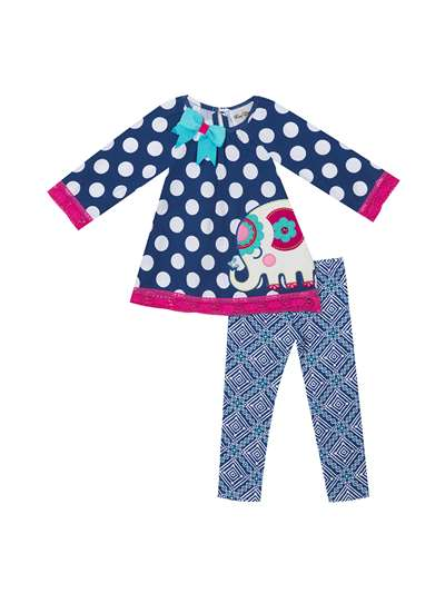 Elephant Blues With Printed Leggings, Rare Editions, Baby Girls (0-9M)