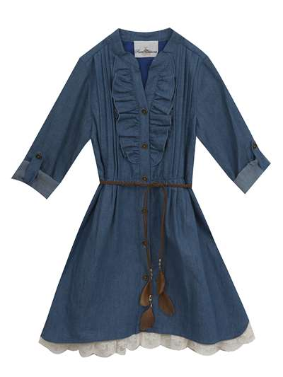 Denim Dress With Ruffles & Belt, Rare Editions, Little Girls (2-6X)