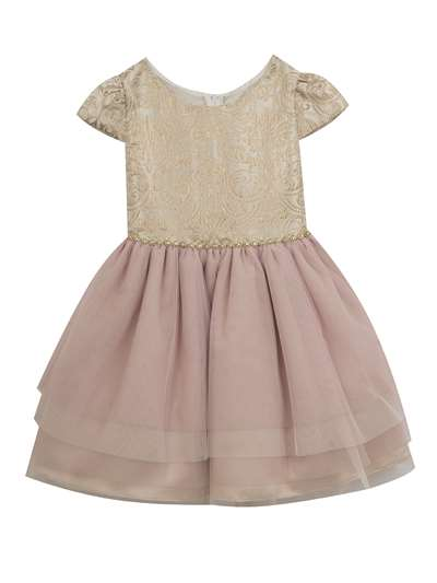 Taupe To Pink Multi Tier Dress, Rare Editions, Little Girls (2-6X)