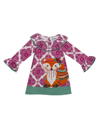 Fancy Fox Printed Knit Dress, Counting Daisies, Little Girls (2-6X)