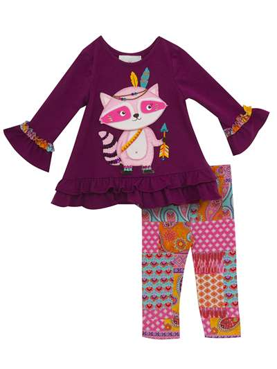 Pink Raccoon Bow And Arrow Legging Set, Rare Editions, Little Girls (2-6X)