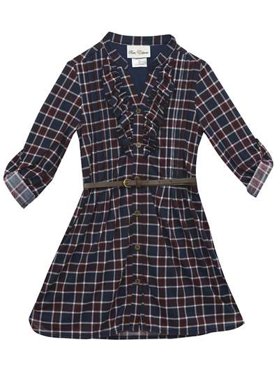 Navy Plaid Dress With Ruffle & Belt, Rare Editions, Little Girls (2-6X)
