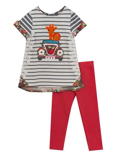 Safari Animals Gray And White Stripe Set With Floral Trim, Rare Editions, Baby Girls (0-24M)