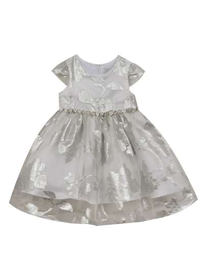 Silver To White Organza Fit & Flare Dress, Rare Editions, Baby Girls (12-24M)