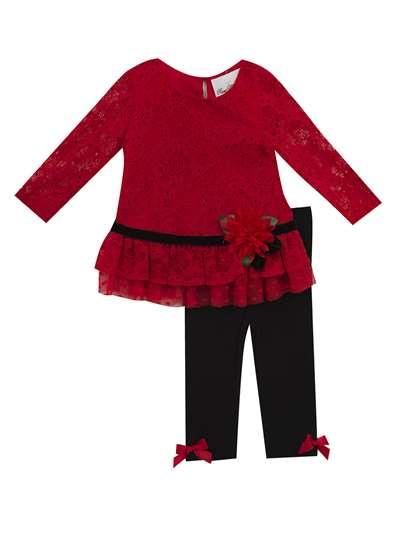 Red Lace W/ Mesh Ruffles/Black Legging, Rare Editions, Baby Girls (12-24M)