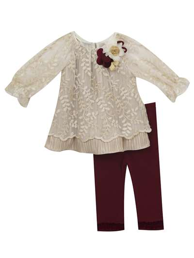 Ivory Gold Embroidered Burgundy Legging Set, Rare Editions, Baby Girls (12-24M)