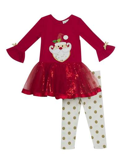 Santa Claus Tutu Legging Set, Rare Editions, Baby Girls (12-24M)
