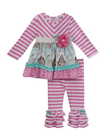 Gingerbread House Stripe To Mint Set, Counting Daisies, Baby Girls (12-24M)