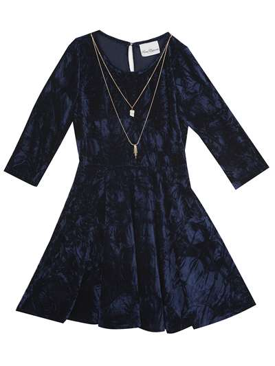 Navy Velvet Dress With Skirt Flare And Necklace, Rare Editions, Little Girls (4-6X)