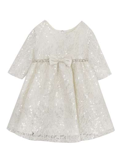 Ivory Lace Sequins Dress With Rhinestone Trim, Rare Editions, Little Girls (4-6X)