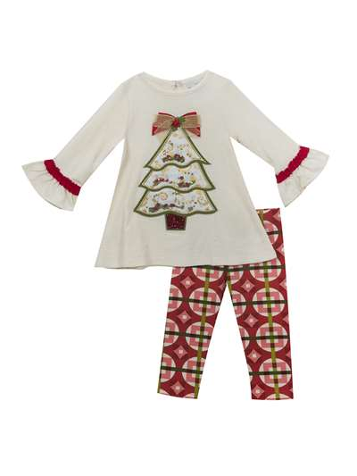 Christmas Tree Textured Knit Legging. Set, Rare Editions, Little Girls (4-6X)