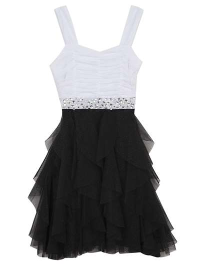 Black And White Ruffle Dress With Gemstones, Rare Editions, Big Girls (7-16)