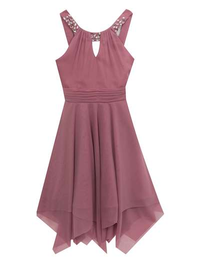 Mauve Jeweled Dress With Layered Skirt, Tween Diva, Big Girls (7-16)