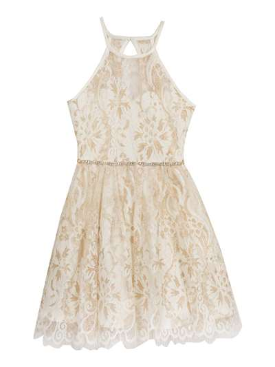 Gold & White Lace Halter Dress With Rhinestones, Rare Editions, Big Girls (7-16)