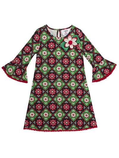 Christmas Floral Print Knit Dress, Counting Daisies, Little Girls (2-6X)