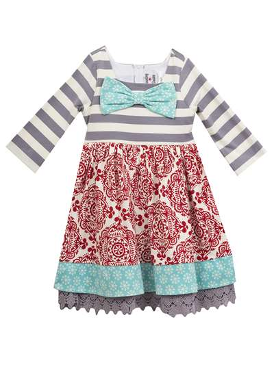 Multi Print Knit Dress With Snowflake Bow, Counting Daisies, Little Girls (2-6X)