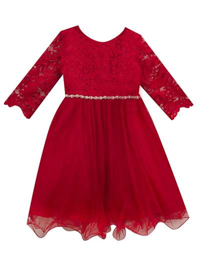 Red Lace Dress To Mesh Skirt, Rare Editions, Little Girls (2-6X)