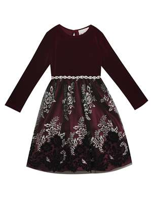 Wine Velvet Top To Flocked Glitter Mesh Skirt, Rare Editions, Little Girls (2-6X)