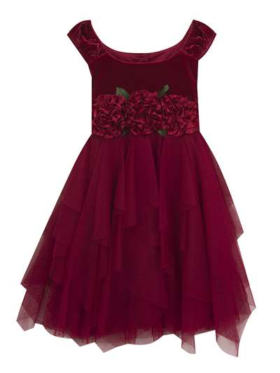 Red Velvet Flower Dress To Cascade Mesh Skirt, Rare Editions, Little Girls (2-6X)
