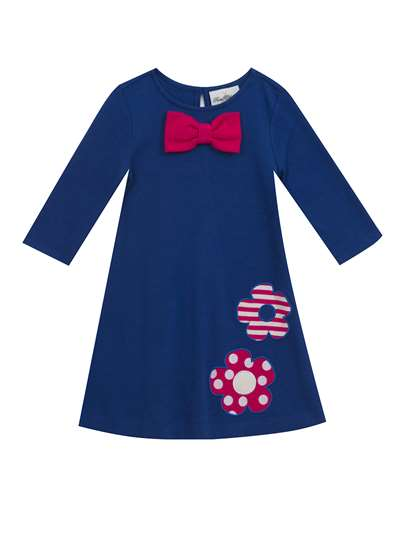 Royal Knit Dress With Bow & Flowers, Rare Editions, Little Girls (2-6X)