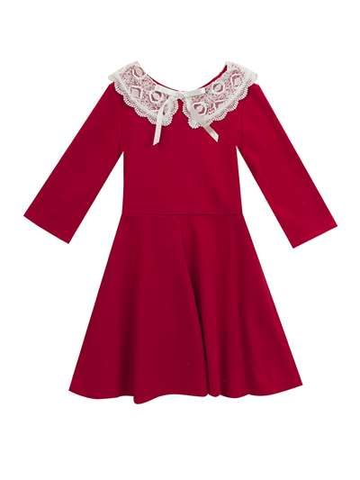 Red Knit Dress With White Lace Collar, Rare Editions, Little Girls (2-6X)