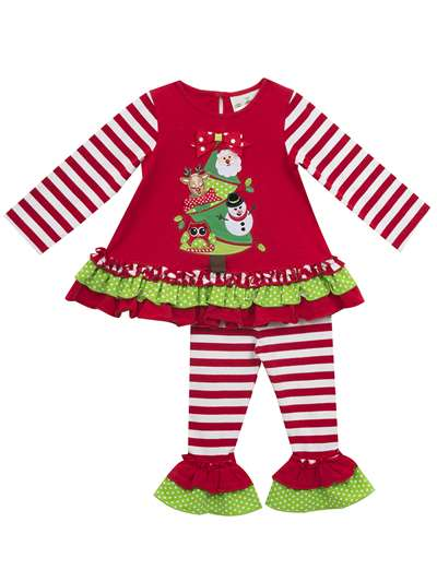 Festive Christmas Tree Ruffle Legging Set, Rare Editions, Baby Girls (0-24M)