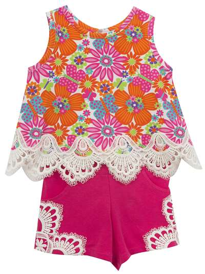 Embroidered Flower Power Summer Shorts Set, Rare Editions, Baby Girls (12-24M)