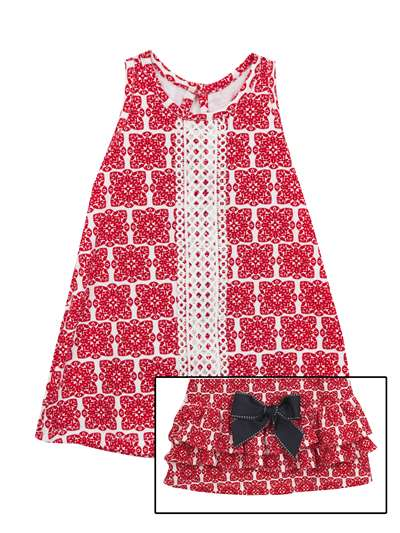 Red And White Geometric Print Summer Sundress, Counting Daisies, Baby Girls (12-24M)
