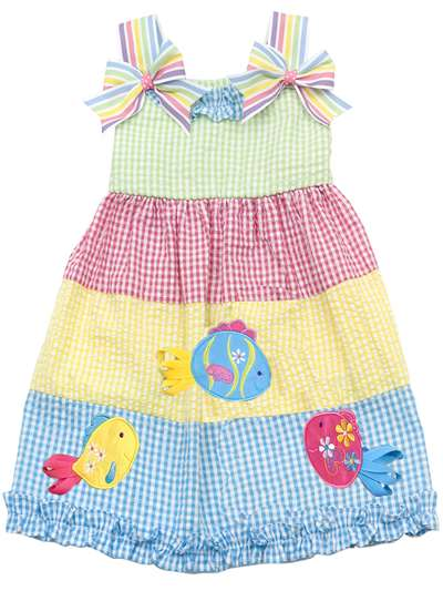 Multi-color Fish Seersucker Dress, Rare Editions, Baby Girls (12-24M)
