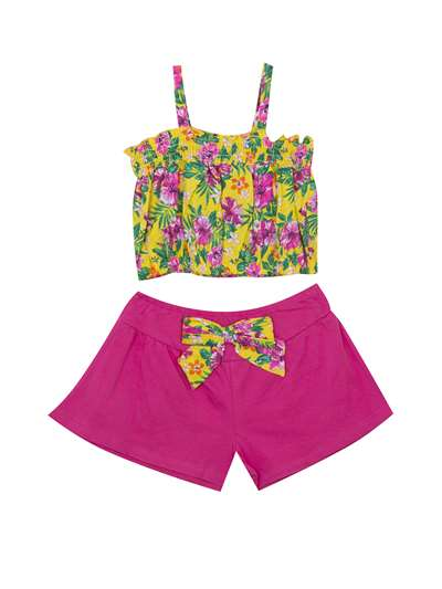 Tropical Hawaiian Floral Print To Fuchsia Flared Shorts, Rare Editions, Baby Girls (12-24M)