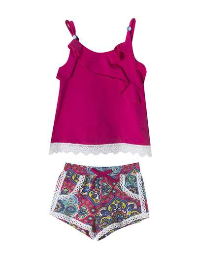 FUCHSIA LACE TO PRINTED SHORTS SET, Rare Editions, Baby Girls (12-24M)