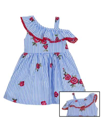Red Floral Chambray Stripe Embroidered Dress, Rare Editions, Big Girls (7-16)
