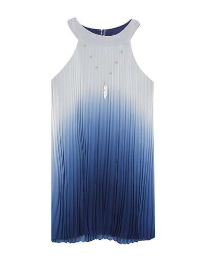 Navy To Ivory Pleated Ombre Chiffon Dress, Rare Editions, Big Girls (7-16)