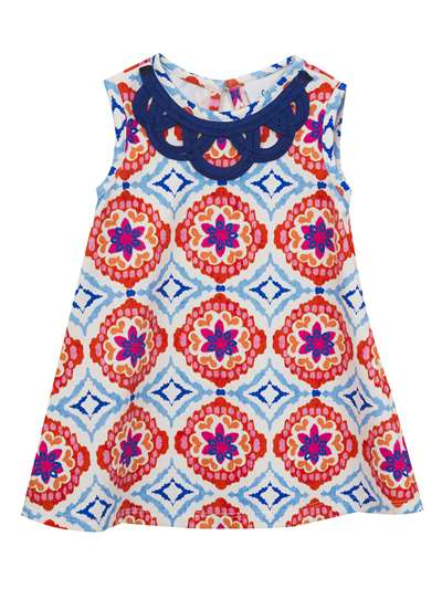 Medallion Printed Knit Sundress, Counting Daisies, Little Girls (2-6X)