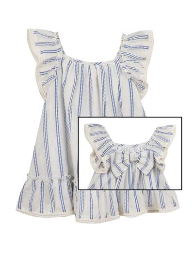 Ivory And Chambray Woven Stripe Sundress, Rare Editions, Little Girls (2-6X)
