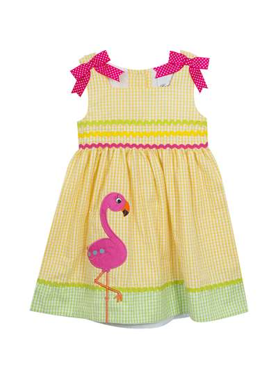 Yellow Flamingo Seersucker Dress, Rare Editions, Little Girls (2-6X)