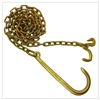 "GRADE 70 Chain with 15"" J Hook one end, Grab and Compact J Hooks one end 5/16"" x 10FT"