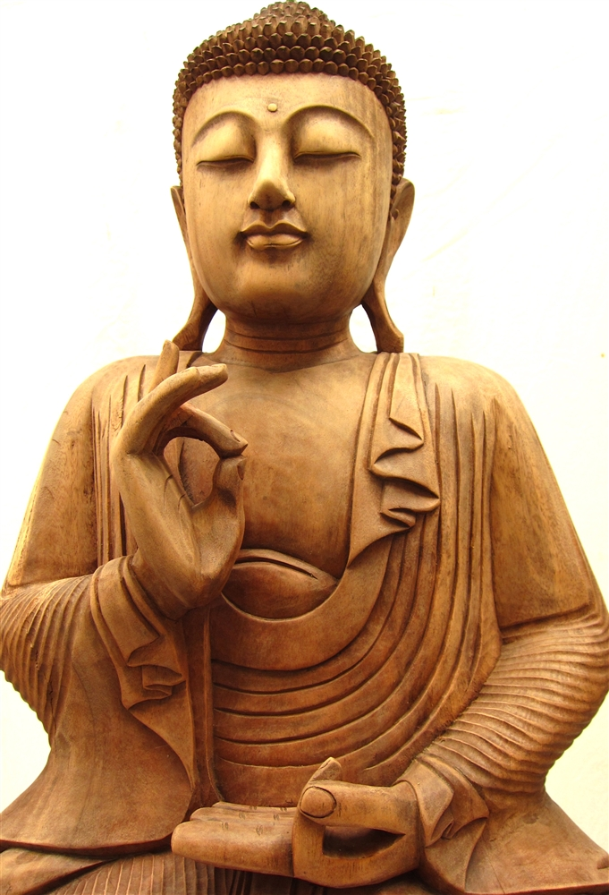 3ft Large Serene Sitting Buddha Statue Hand Carved From