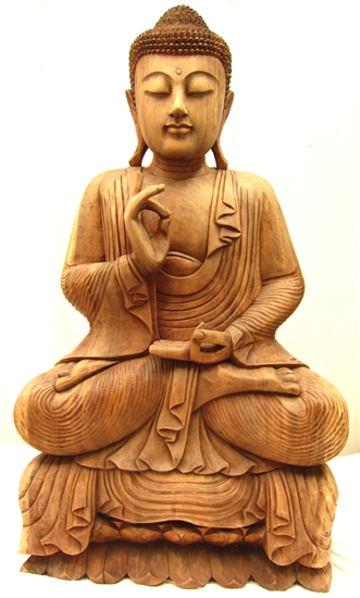 3ft Large Serene Sitting Buddha Statue Hand Carved from Solid Tropical Suar Wood
